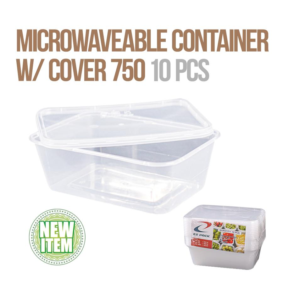 Microwaveable Container with Cover 750ml 10pcs